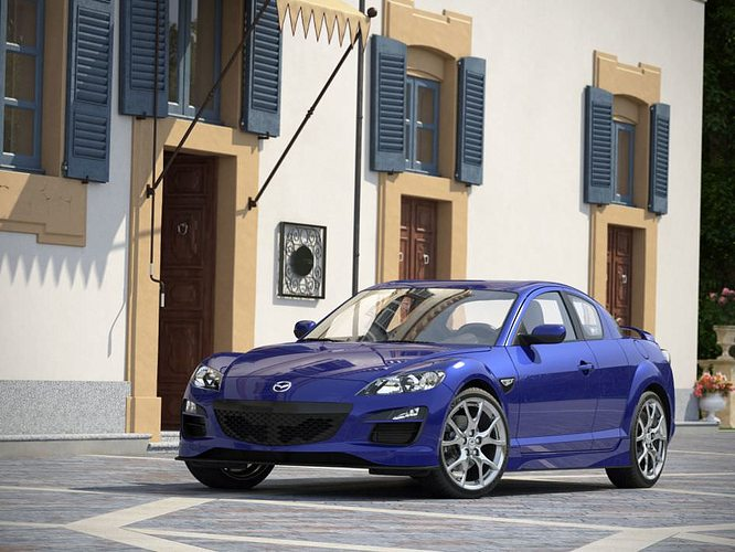 blue mazda rx 8 on the street 3d model max 1