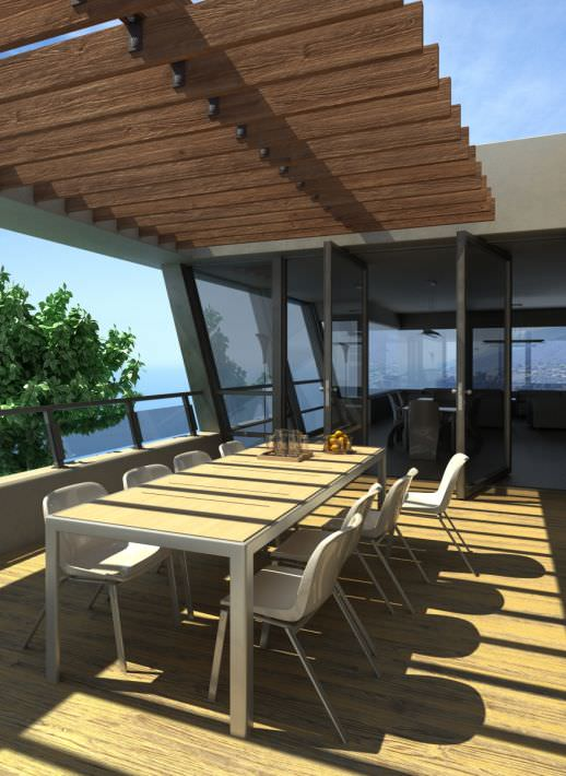 Outdoor Dining Table In A Terrace Model