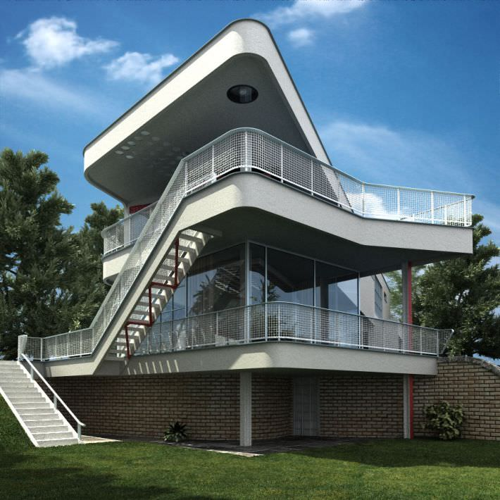 Extraordinary House With Stairs And Two Floors Model C4d 2