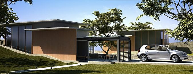 stylish house in southern location 3d model max 1