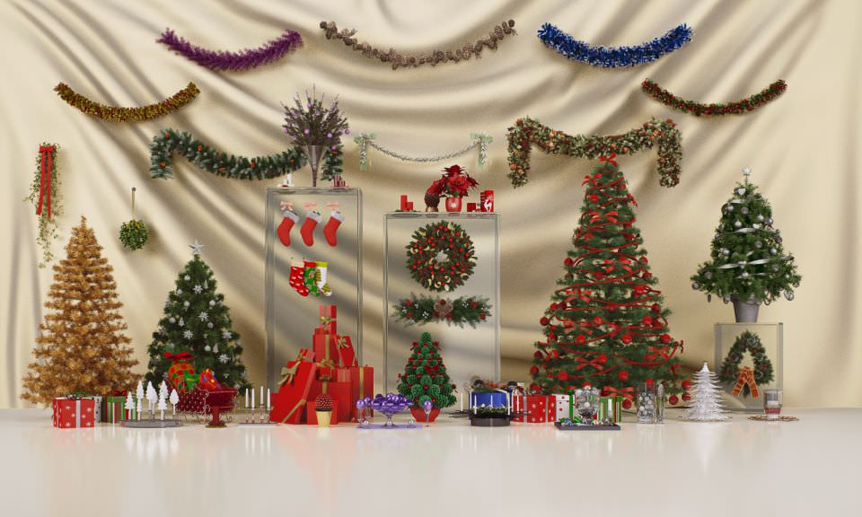 Christmas decorations collection 3d model max obj fbx c4d for 3d christmas decoration