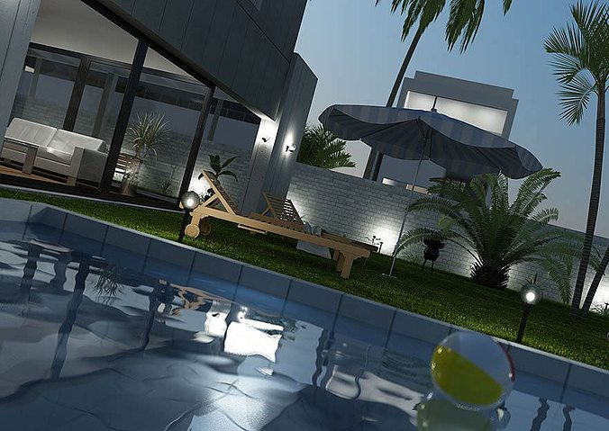 yard furniture collection 3d model  1