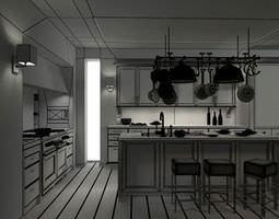 Modern Kitchen Interior 3D model
