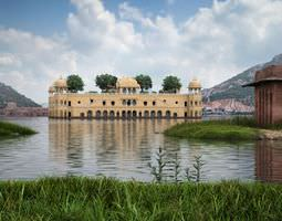 3D Original Building Surrounded By Lake