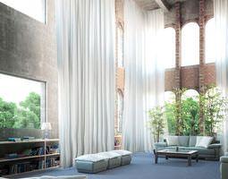 Spacious Loft Living Room Scene 3D