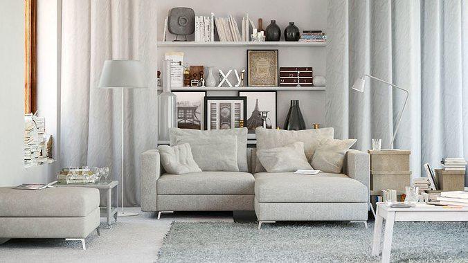scandinavian style living room 3d model max 1