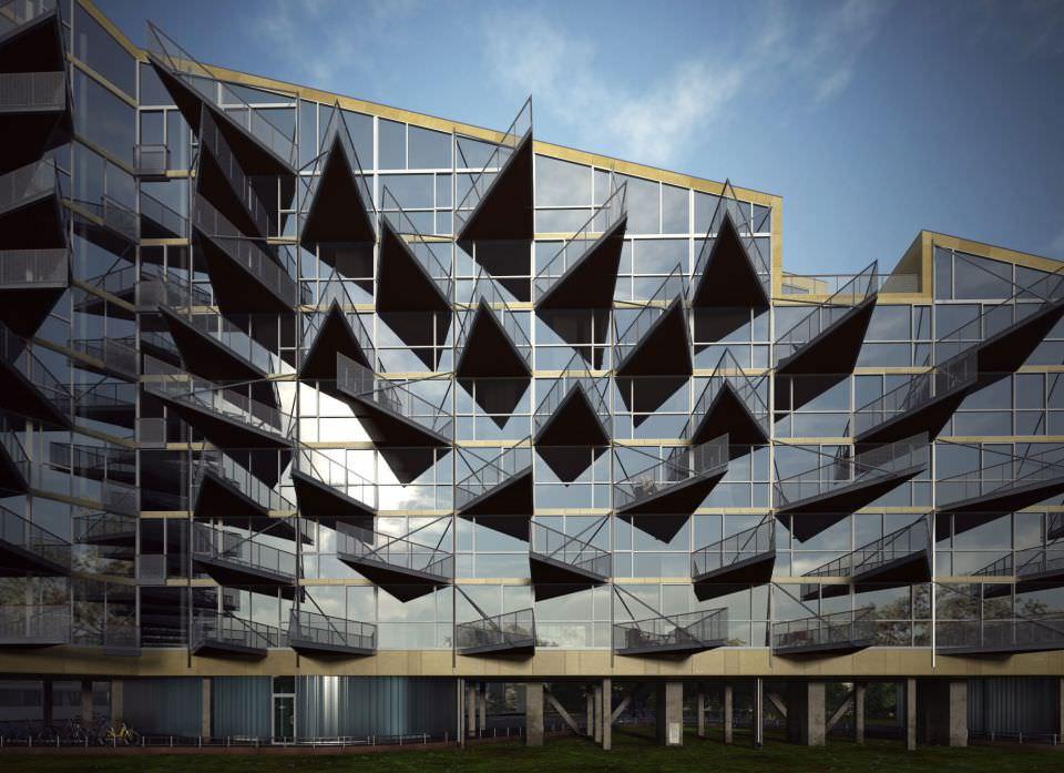 Modern block of flats 3d model max 2