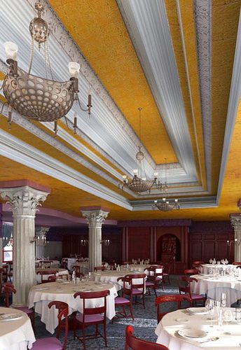 spacious elegant restaurant 3d model max 1