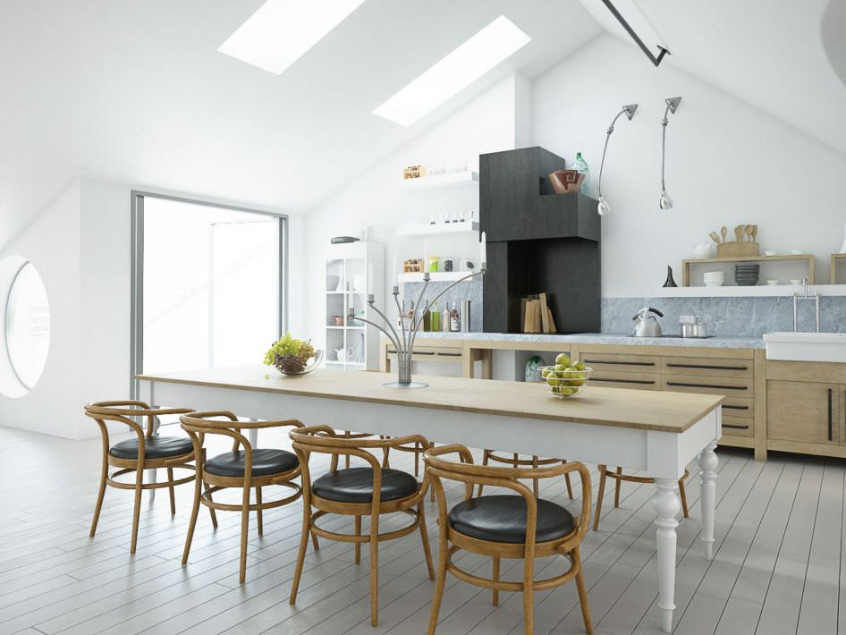 Spacious Modern Kitchen With Dining Table Model Obj