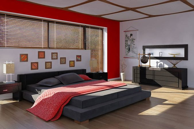 Chinese Style Bed Room With Red Details Model