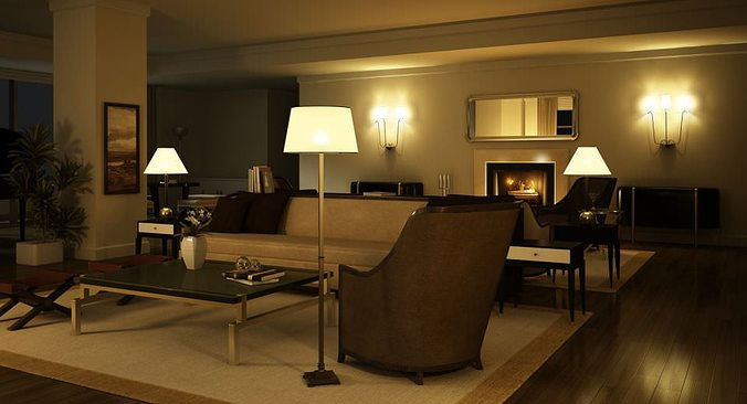 awesome black living room 3d model | Elegant Dark Living Room With Lamps 3D | CGTrader