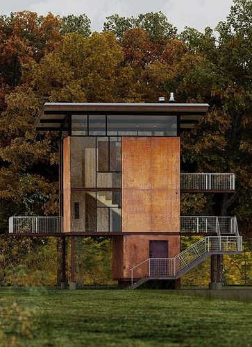 3d Exterior House Designs: 3D Modern House With Stairs