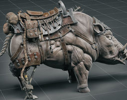 Cybernetic boar 3D model