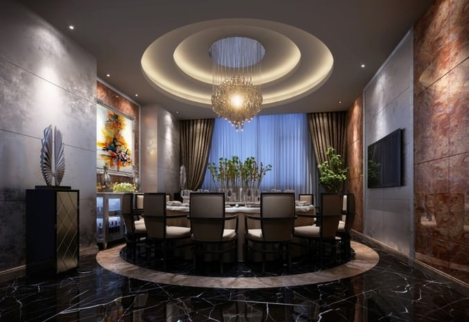 3d model luxury dining room with round table cgtrader for Luxury dining room