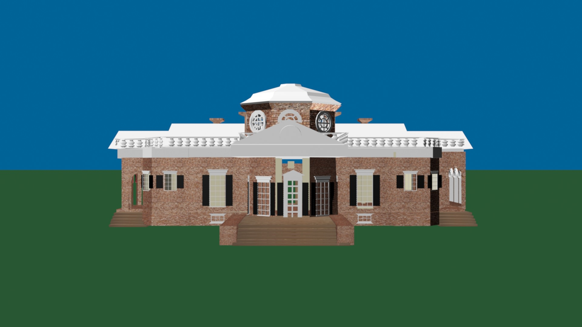 3d model neoclassical architecture thomas jefferson house vr ar