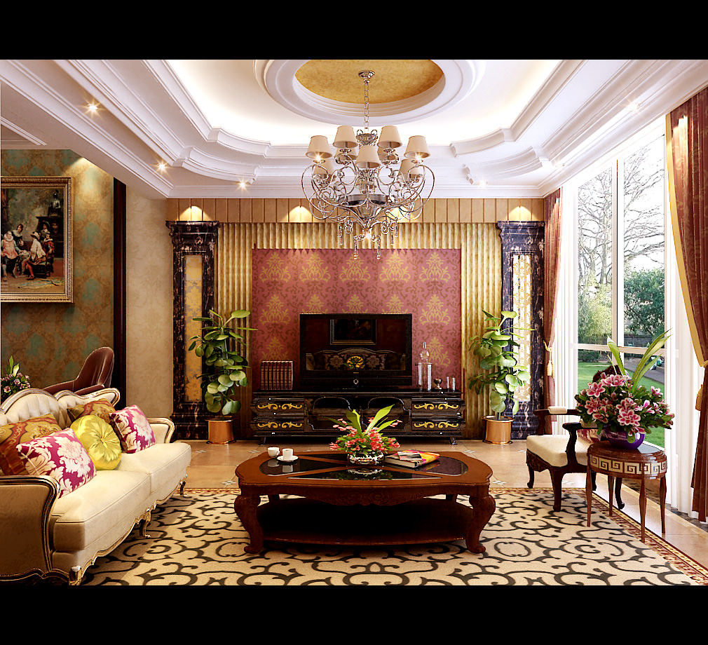 Living Room Model royal living room with pillows 3d model | cgtrader