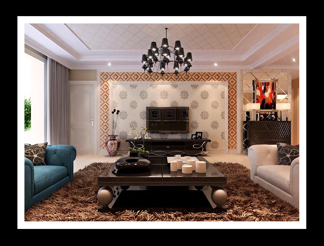 Living Room Models modern living room with brown fur carpet 3d model max