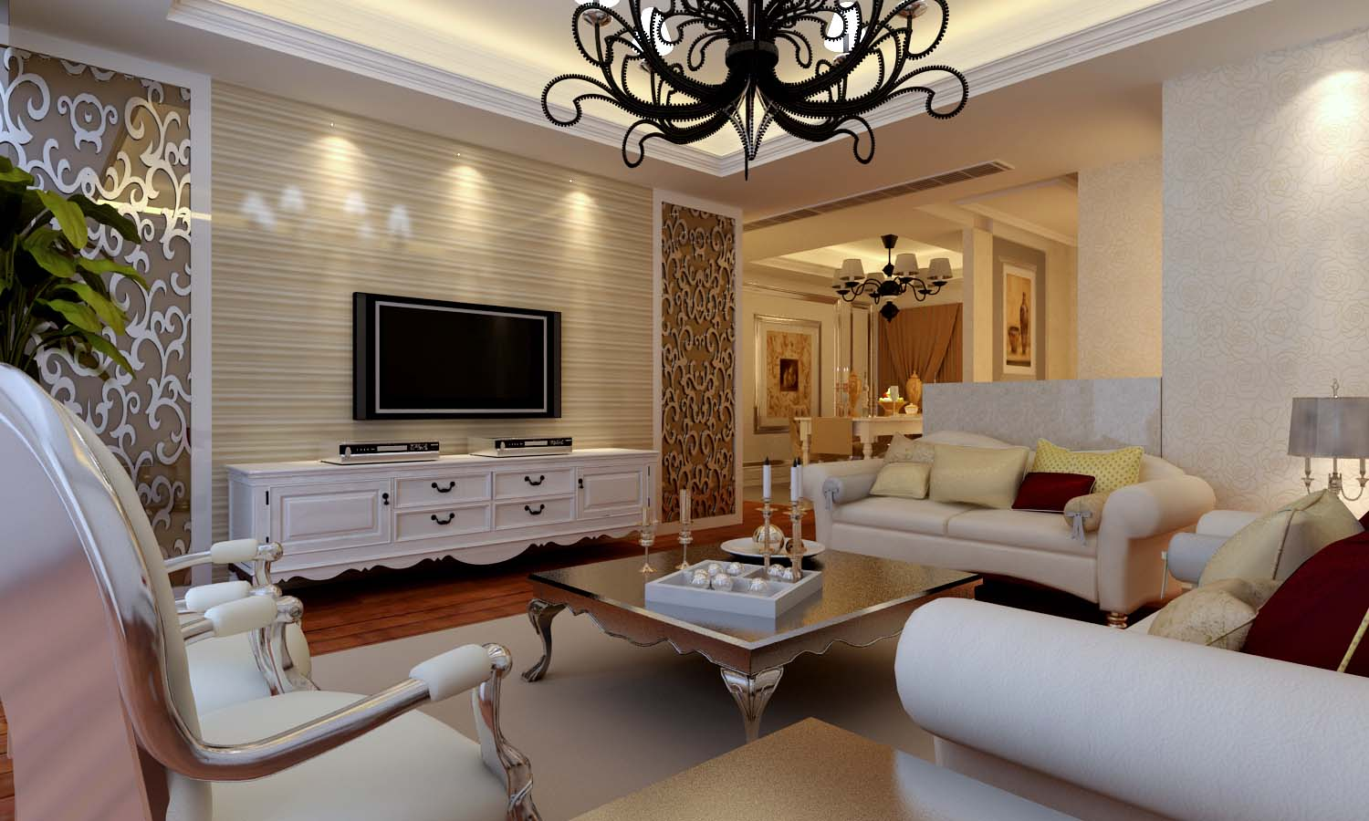 Living Room Model 3d royal living room with white furniture | cgtrader