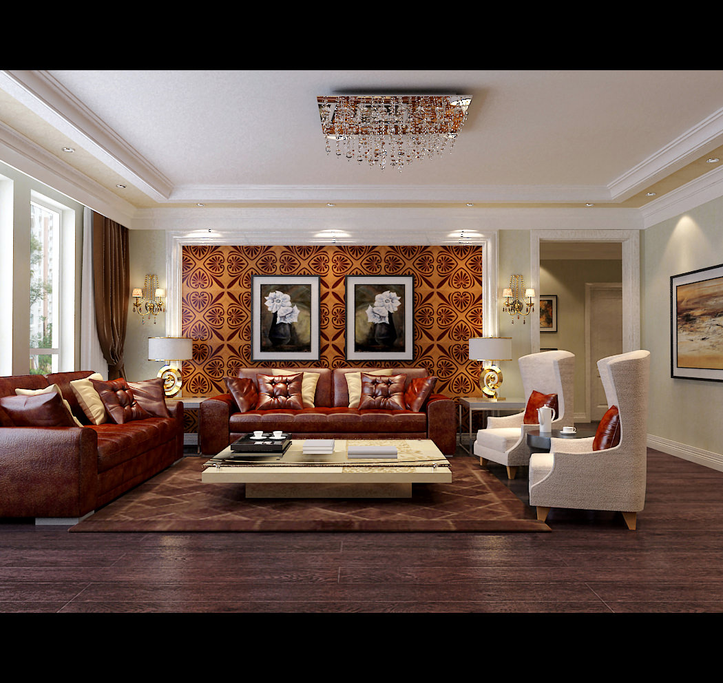 Living Room Large Windows: Modern Living Room With Big Windows 3D Model MAX