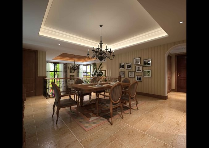 Modern dining room with chandelier 3d model max for Dining room 3d max model
