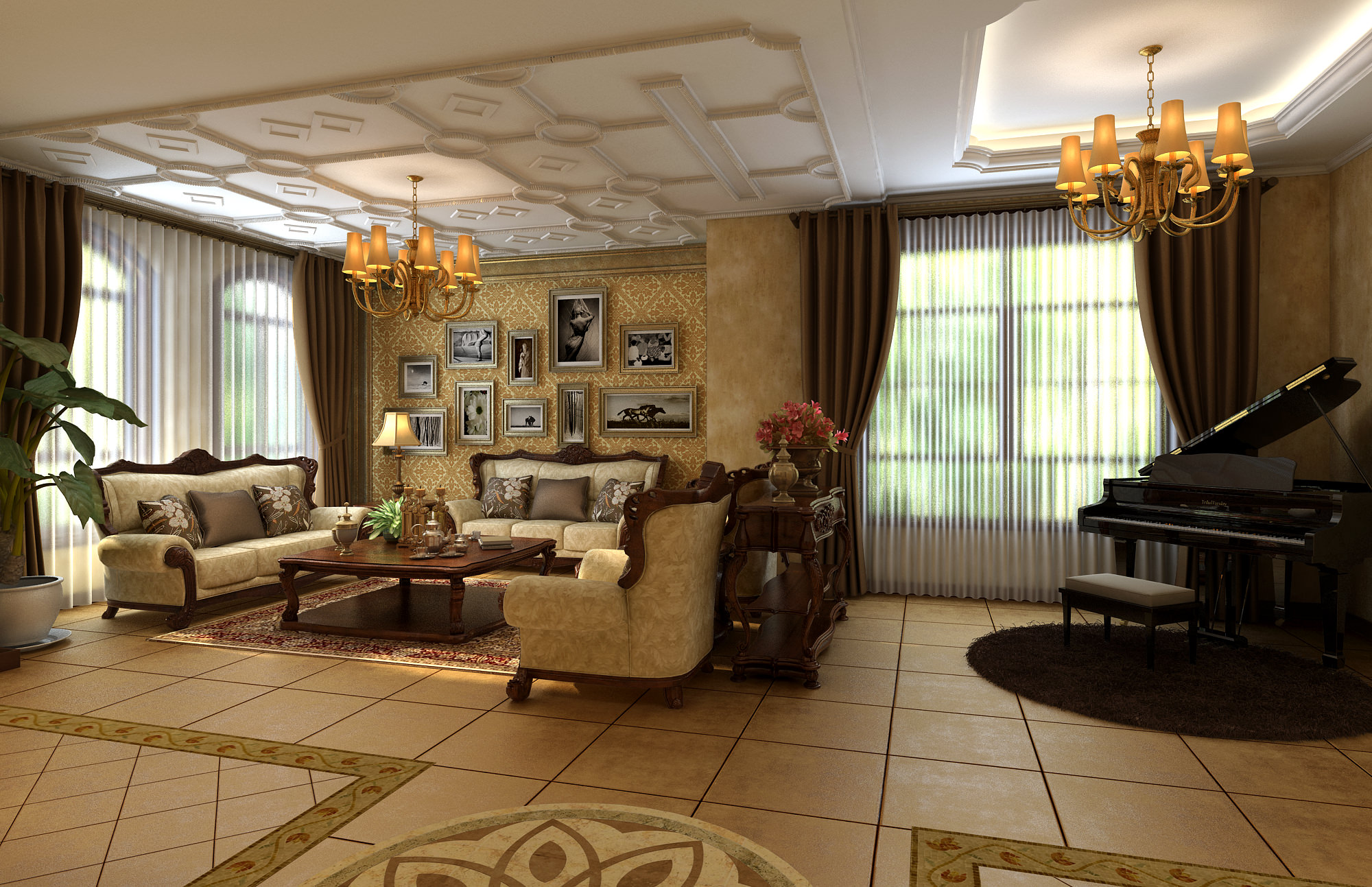 Living Room Model Royal Living Room With Piano 3D Model  Cgtrader