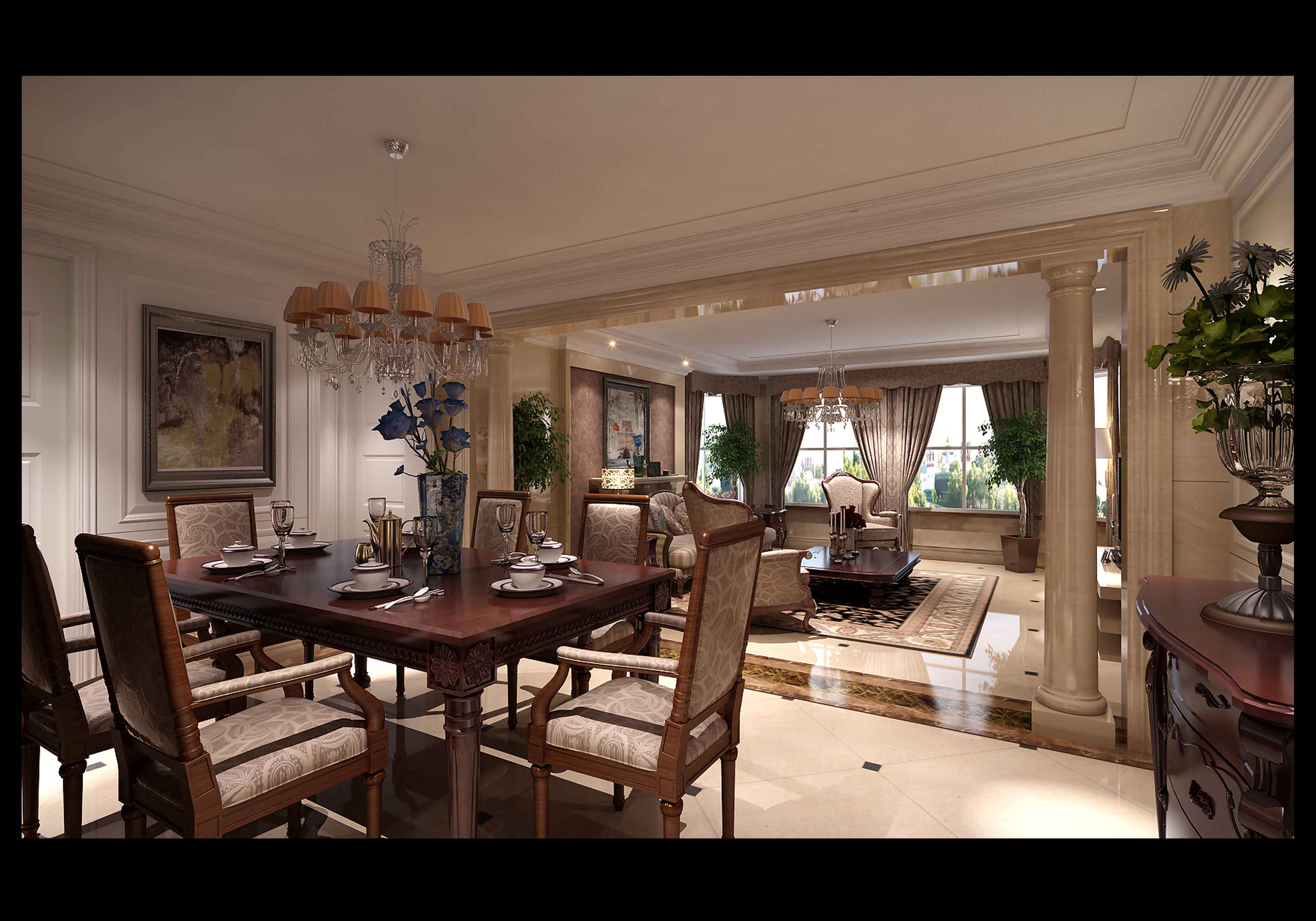 Luxurious Living Room With Dining Table 3d Model Max 1