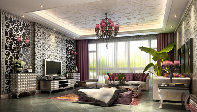 Fancy Living Room With Luxurious Wallpapers 3D Model