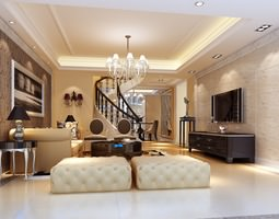 3d modern living room with fancy furniture and stairs