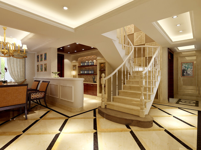 Living Room Design With Stairs: 3D Model Modern Living Room With Stairs