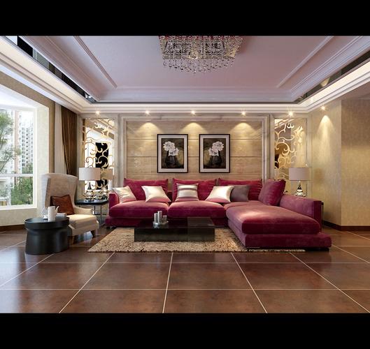 3d model modern living room with big red sofa cgtrader for Model interior design living room