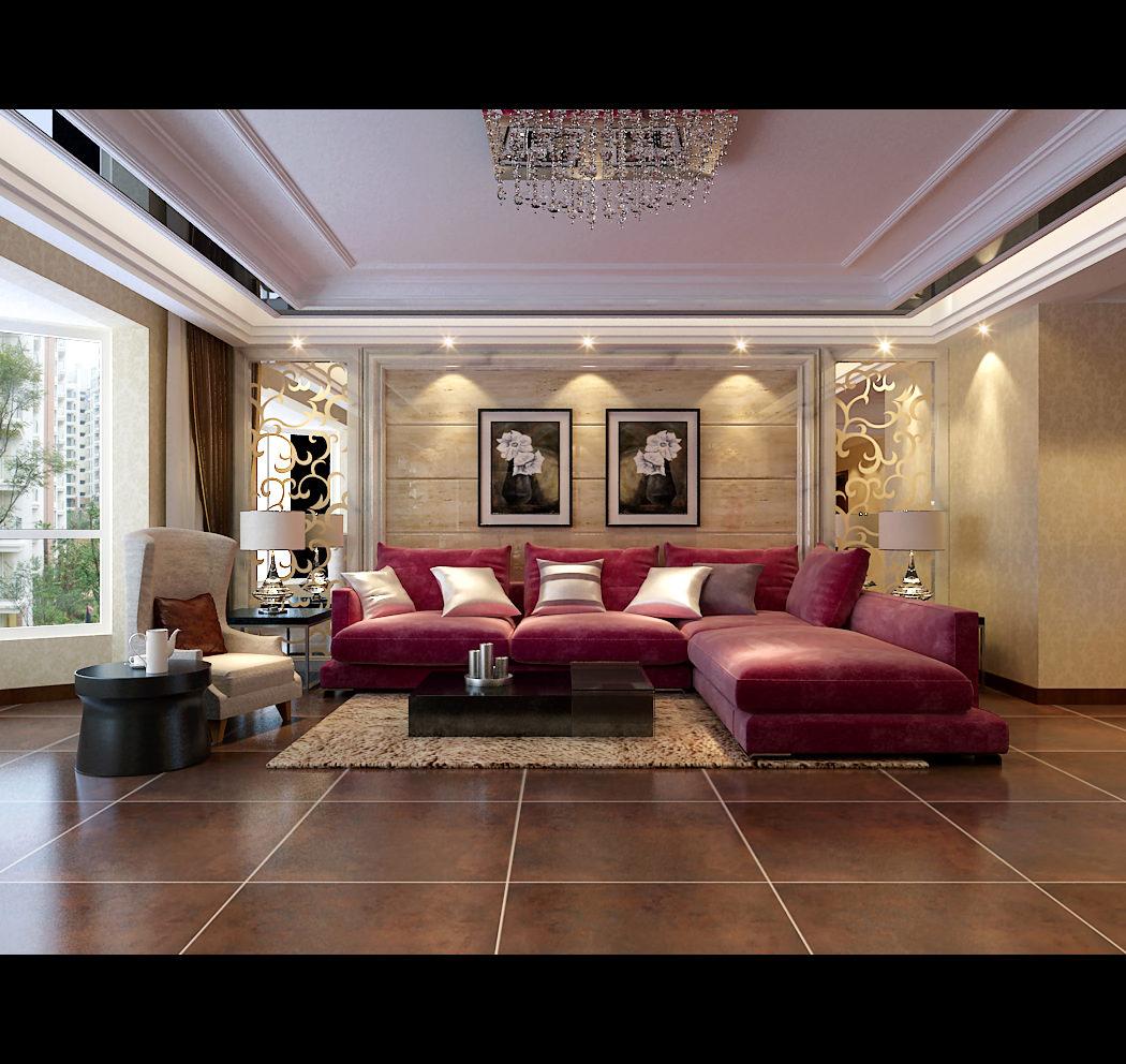 modern living room with big red sofa 3d model max. Black Bedroom Furniture Sets. Home Design Ideas