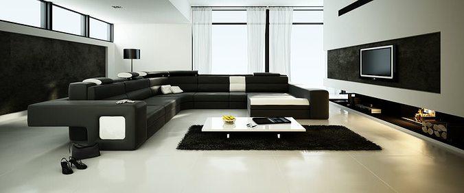 Spacious Living Room With Big Black Sofa 3d Model Max