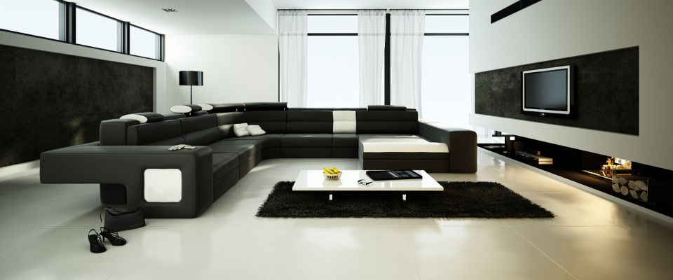 Spacious Living Room With Big Black Sofa 3d Model Max 1 ...