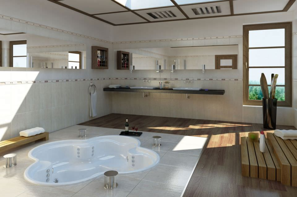 Modern Bath Room With Jacuzzi 3D model | CGTrader