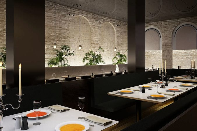 Modern restaurant interior d model cgtrader