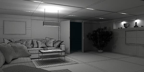 3d dark living room with city view cgtrader for Living room 3d view