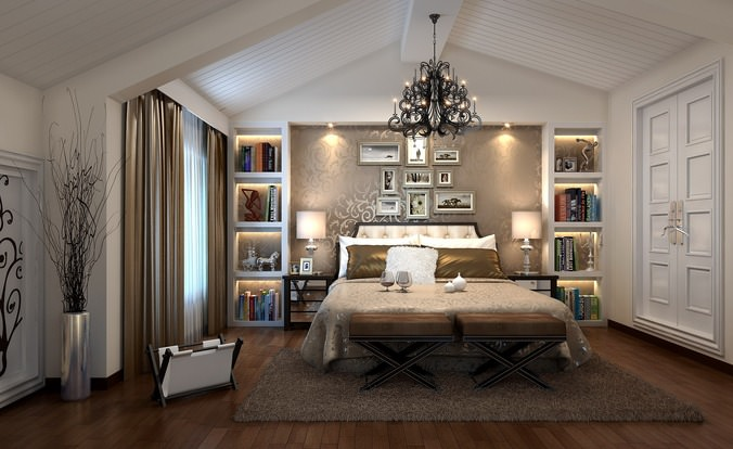 luxurious bedroom with chandelier 3d model max 1
