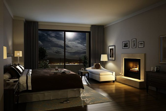 model elegant cozy dark bed room cgtrader