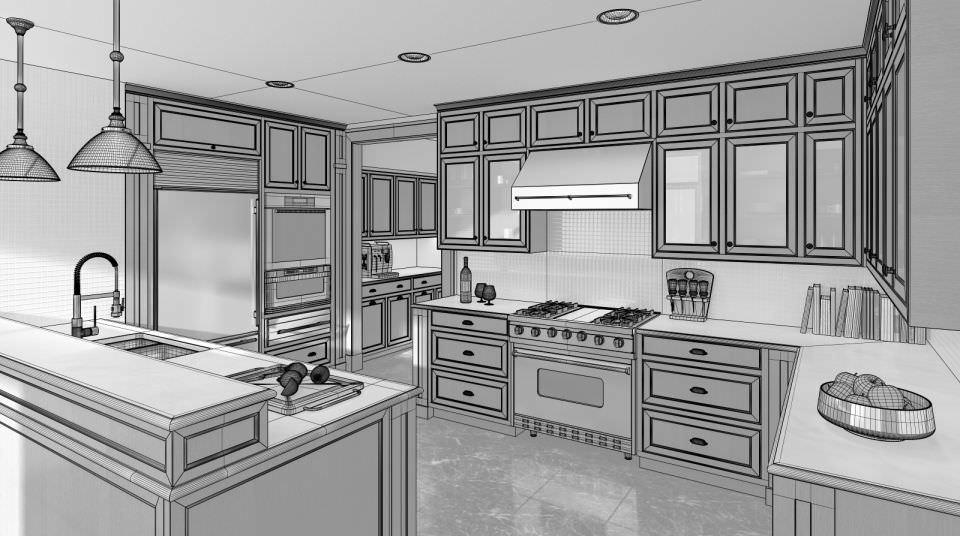 Kitchen 3d Model 3d model modern brown wood kitchen | cgtrader