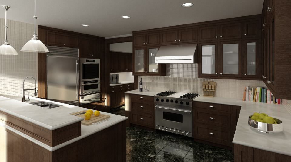 Model Modern Brown Wood Kitchen Cgtrader