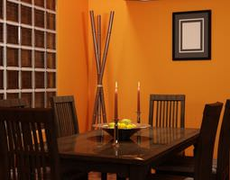 Orange Dining Room 3D