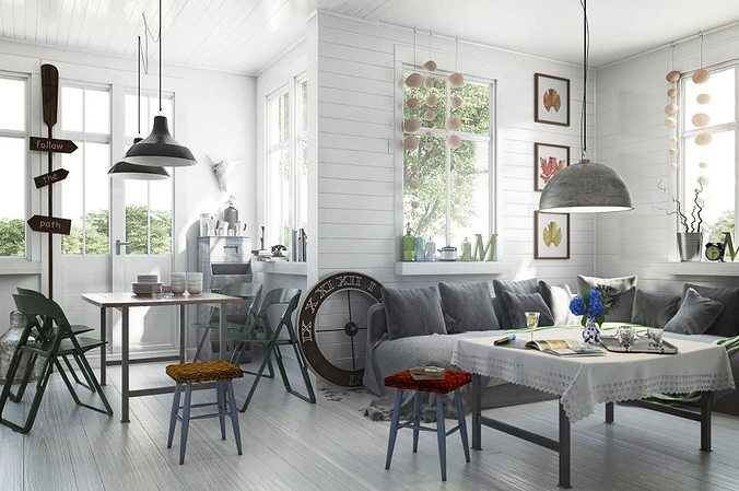 Scandinavian Style Dining Room Table: Scandinavian Style Living Room With Dining Table 3D Model MAX
