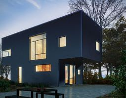 Modern House With Yard 3D
