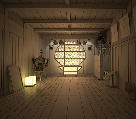 Chinese style empty room 3d model max 3d room