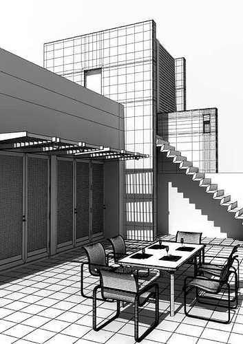 modern house with outside furniture 3d model max 1