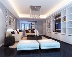 3d modern spacious living and dining room with brigh colours and many decorations