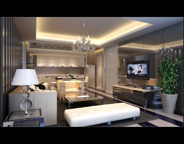 Comfortable Living Room With Modern Bright Furniture Tv