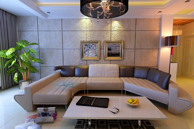 Modern fully furnished living room with plants and for Modern living room plants