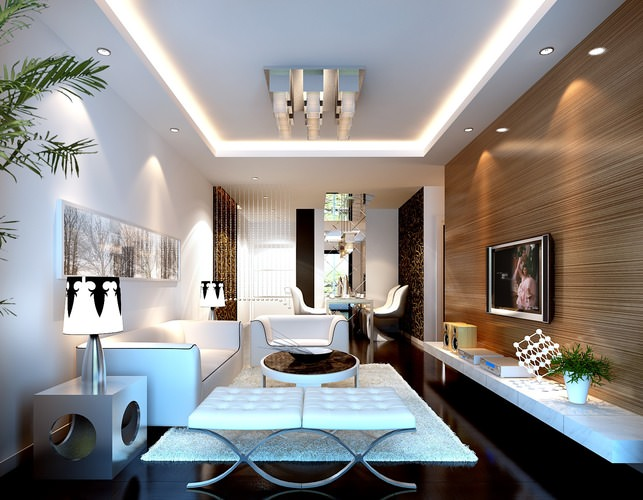 Modern Unusual Living Room With Bright Furnitures And Various 3d Model Max