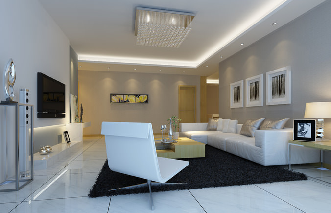 Modern Living Room With The Paintings Fully Furnished Tv